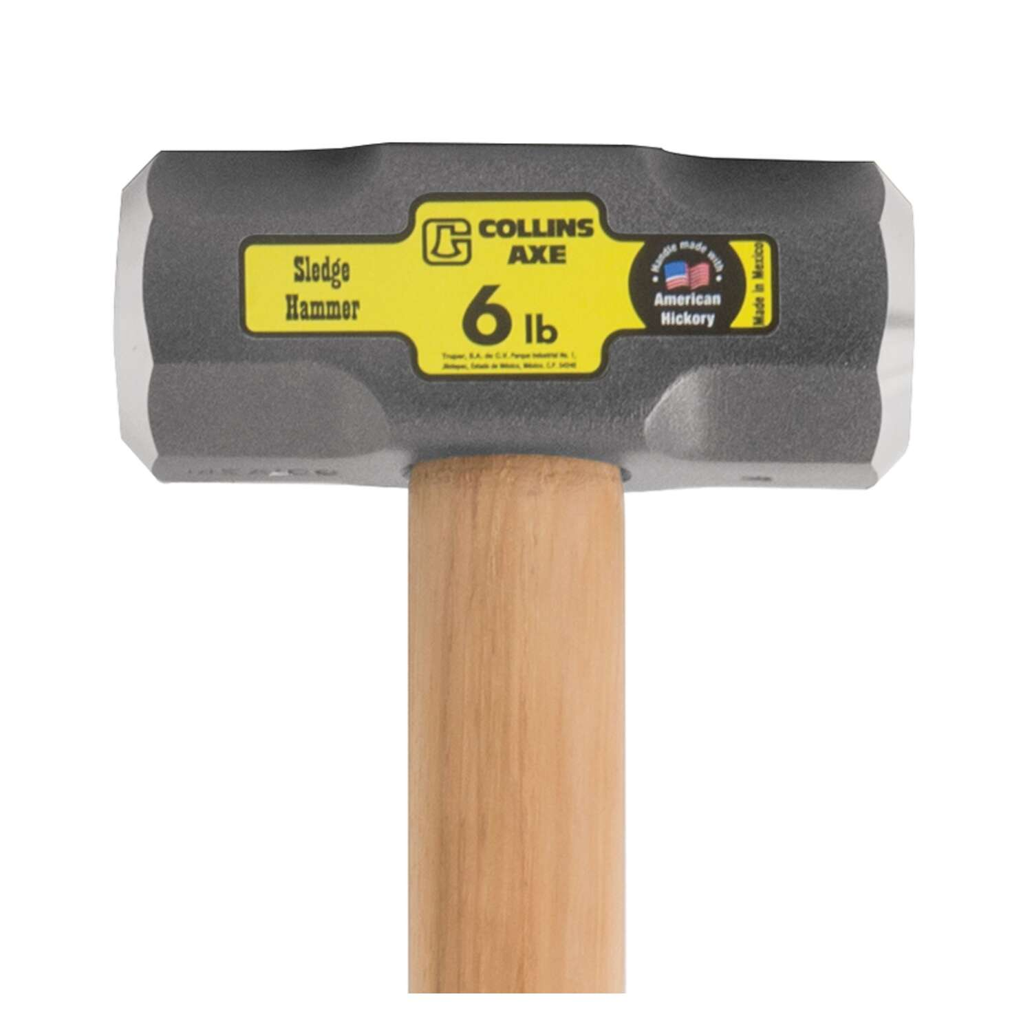 Collins  6 lb. Forged High Carbon Steel Head Sledge Hammer  36 in. L x 2.1 in. Dia.