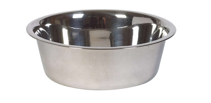 Hilo  Silver  Plain  Stainless Steel  3 qt. Pet Dish  For Dogs