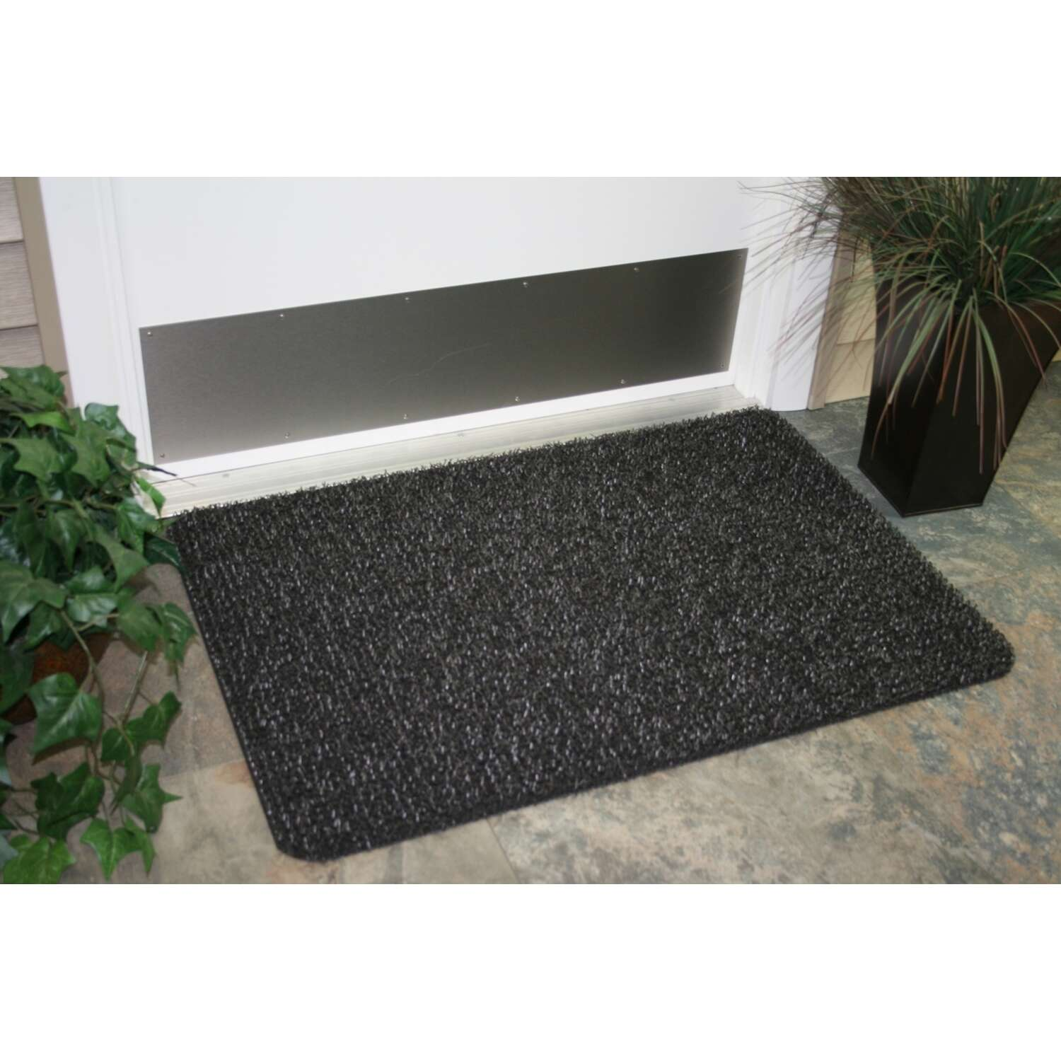 GrassWorx  Gray  Polyethylene  Nonslip Door Mat  30 in. L x 18 in. W