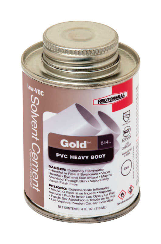 Rectorseal  Gold  Clear  Solvent Cement  For PVC 4 oz.