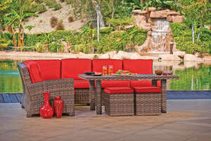 Northcape  Lakeside Collection  7 pc. Deep Seating Set  Red/Brown Welt