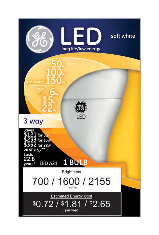 GE Lighting  6/15/22 watts A21  LED Bulb  700/1600/2155 lumens Soft White  A-Line  50/100/150 Watt E