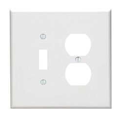 Leviton  White  2 gang Thermoset Plastic  Duplex/Toggle  Wall Plate  1 pk