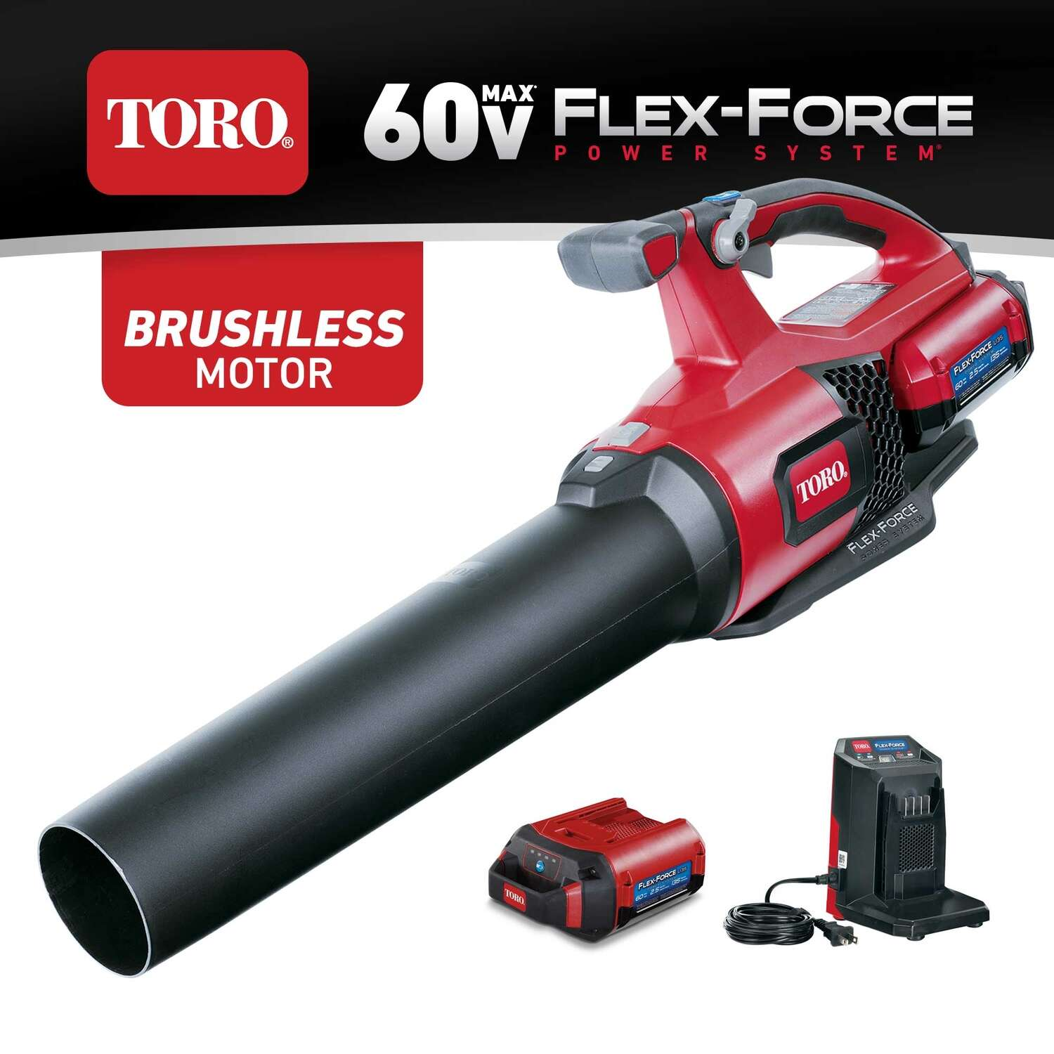 TORO 60v Flex-Force Power Systems 105 mph 550 CFM 60 volt Battery Handheld Leaf Blower Kit (Bat