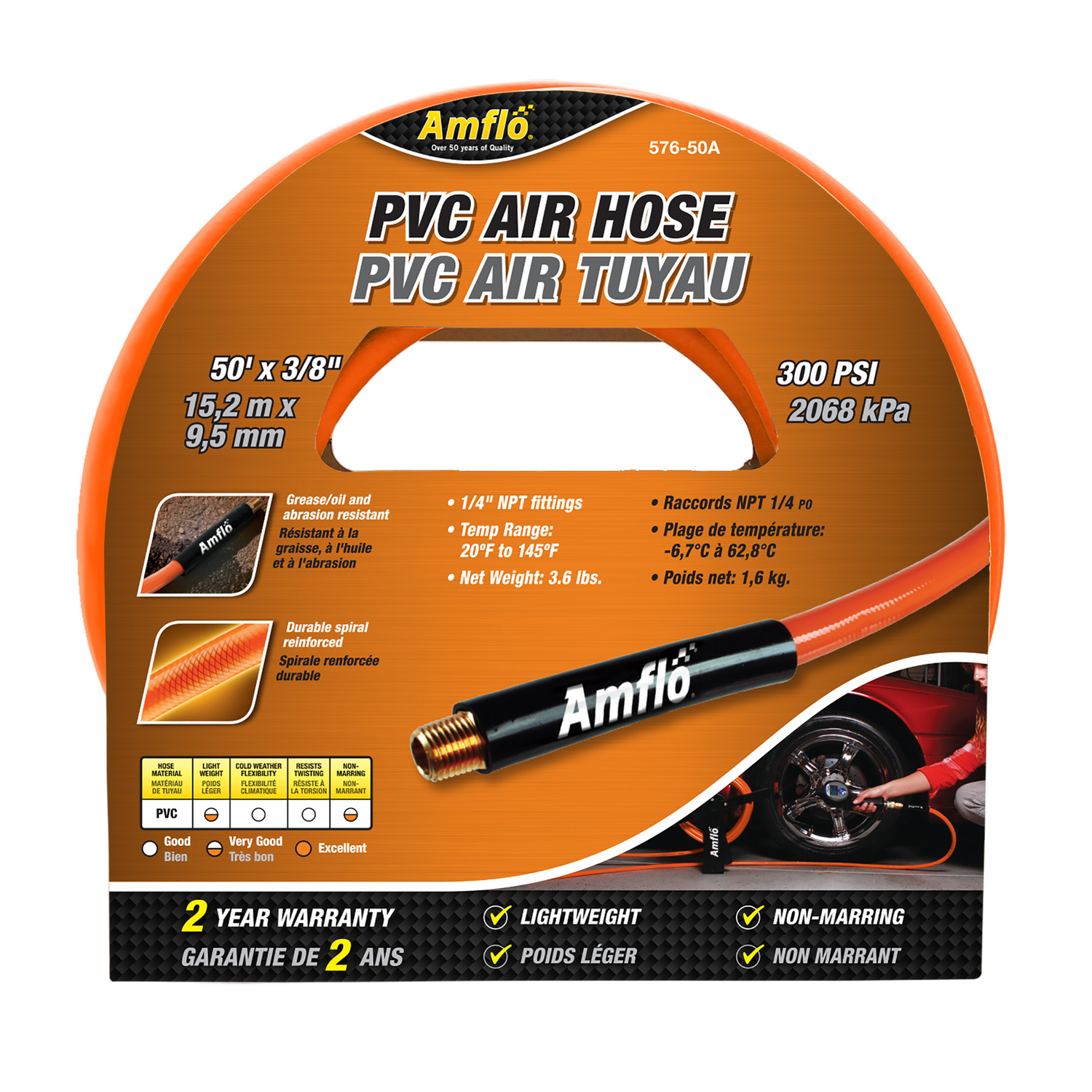 Amflo  50 ft. L x 1/4 in.  Air Hose  Polyvinyl  300 psi Orange