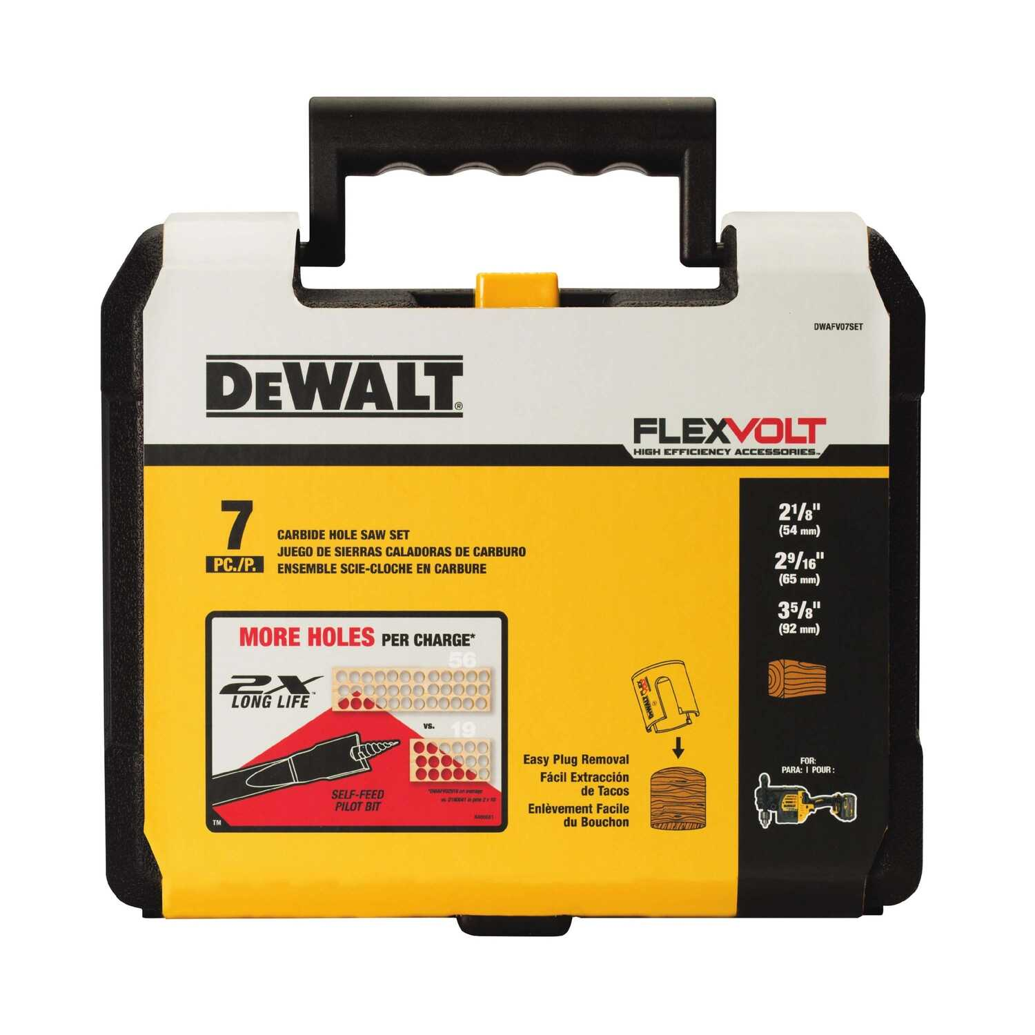 DeWalt  2X Long Life  Multiple in. Dia. x Multiple in. L Carbide Tipped  Hole Saw Kit  7 pc.