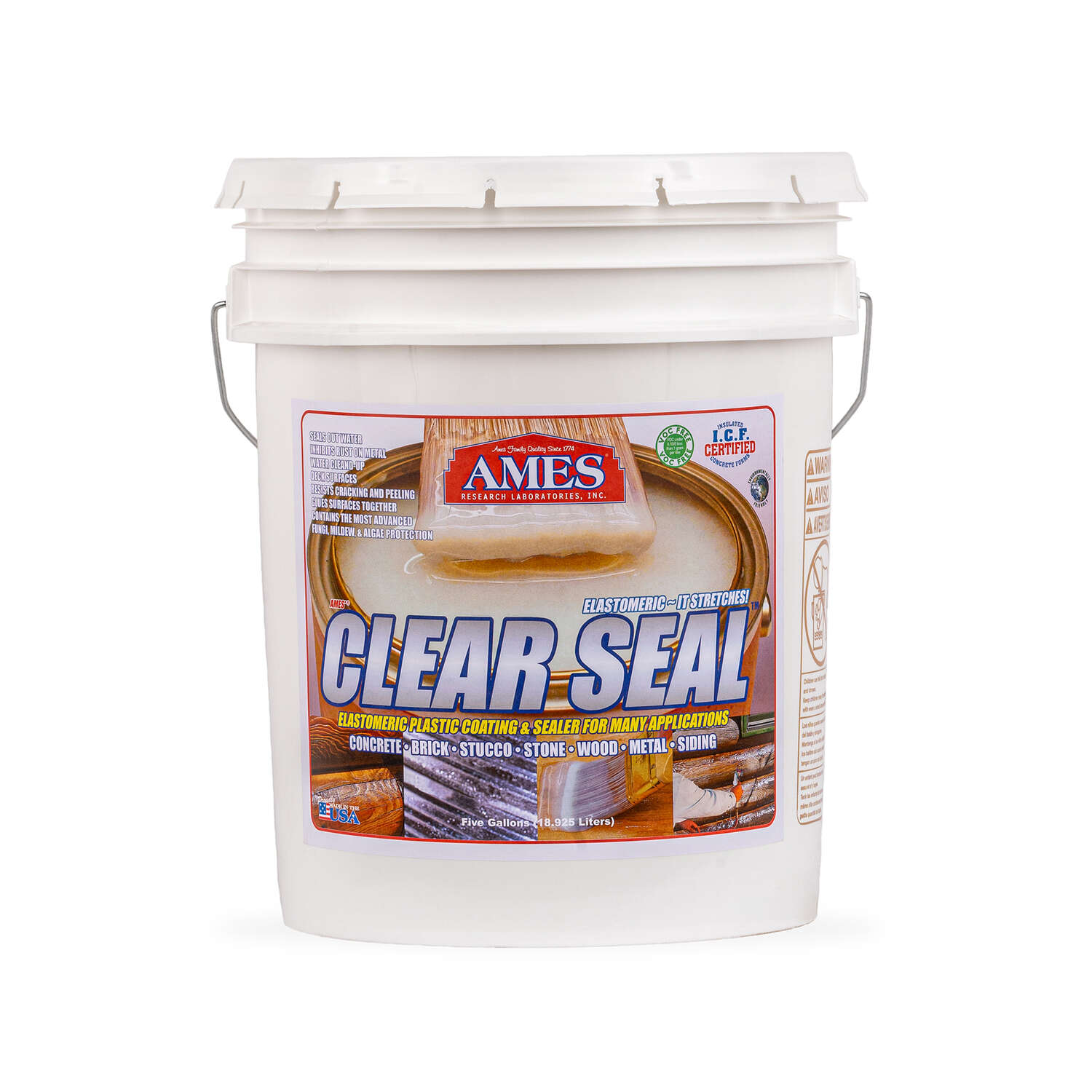 Ames  Clear Seal  Semi-Gloss  Clear  Water-Based  Waterproof Sealer  5 gal.