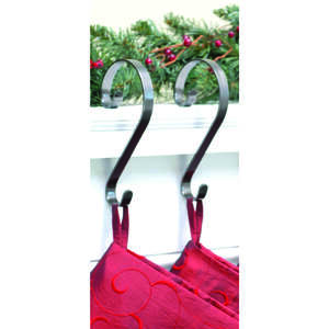 Haute Decor  Scroll  Pewter  Metal  2 pk Stocking Holder