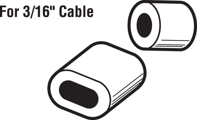 Prime-Line  3.9 in. W x 5.6 in. L x 3/16 in. Dia. Aluminum  Cable Ferrules and Stops