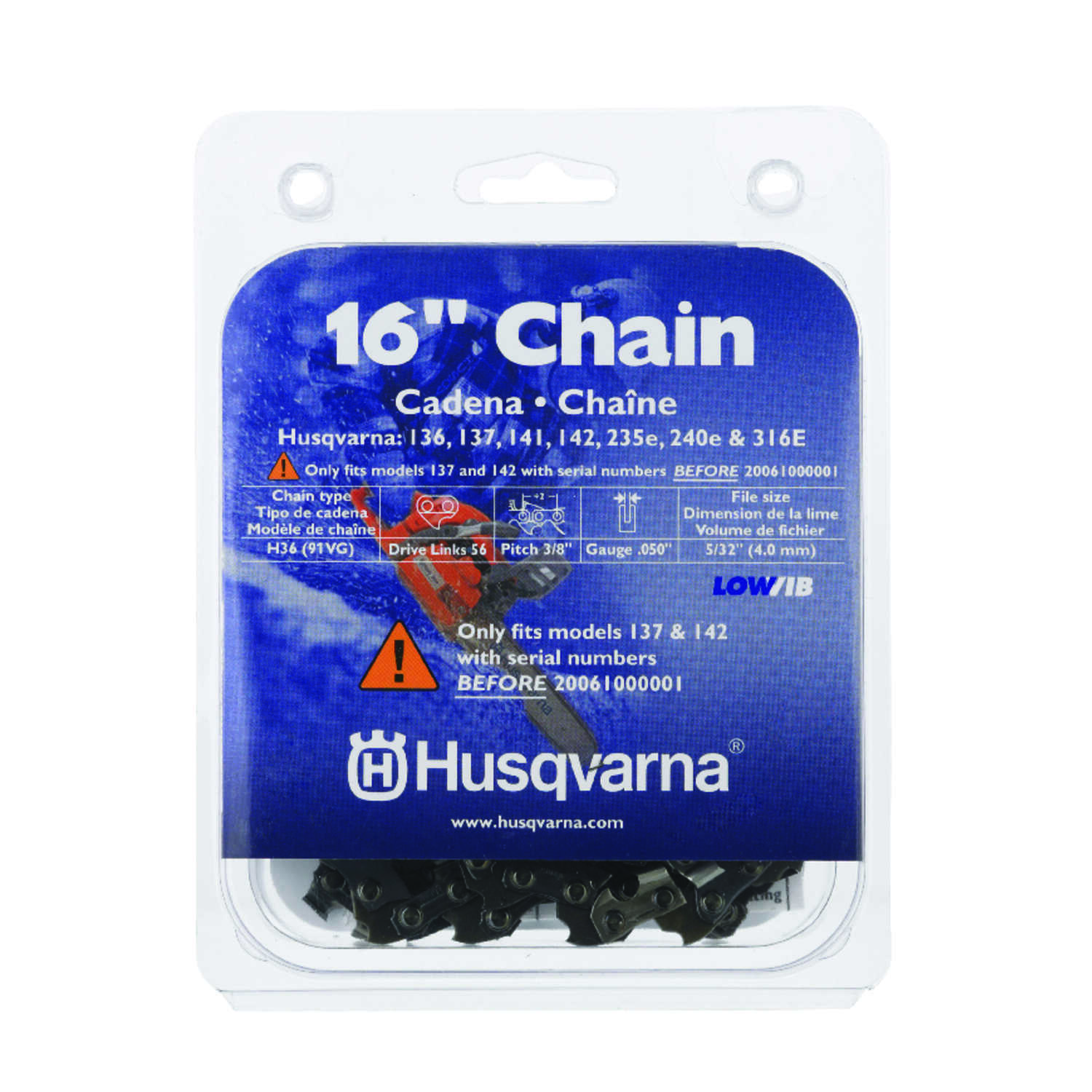 Husqvarna  16 in. 56 links Chainsaw Chain
