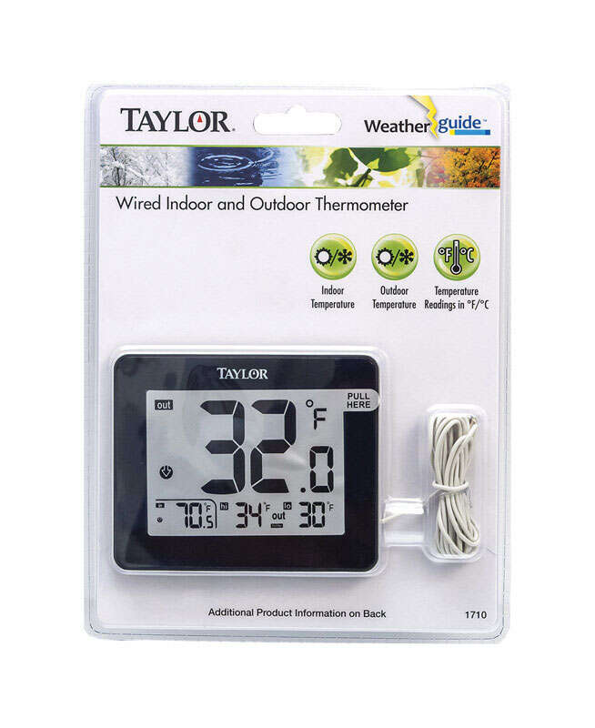Taylor  Wire Probe  Digital Thermometer  Black  Plastic