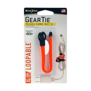 Nite Ize  Gear Tie  6 in. L Twist Ties  2 pk Orange