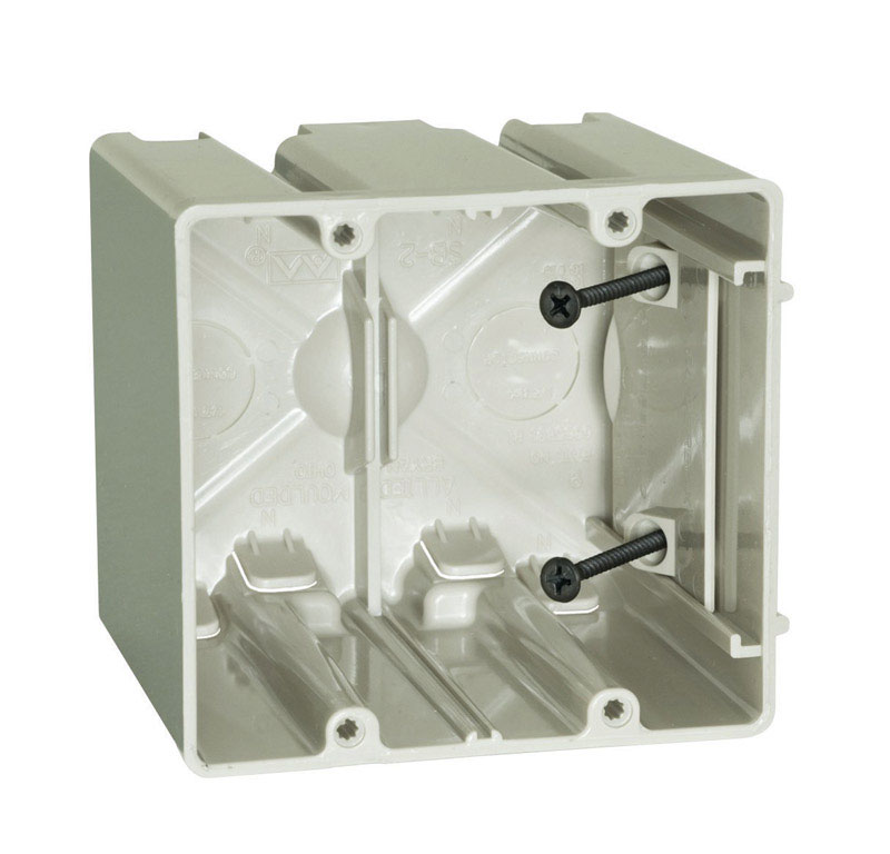 Allied Moulded  3-3/4 in. Square  Plastic  Outlet Box  Beige/Tan  2 Gang
