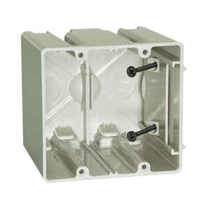 Allied Moulded  3-3/4 in. Square  Plastic  2 gang Outlet Box  Beige/Tan