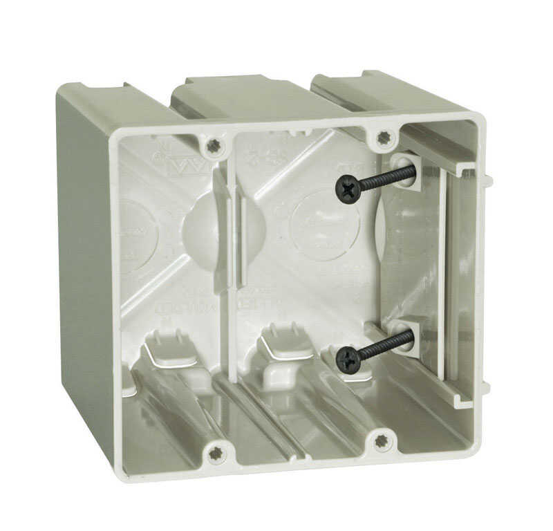 Allied Moulded  Square  Plastic  2 gang Outlet Box  Beige/Tan  2 Gang  3-3/4 in.