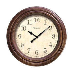 Westclox  10 in. L x 10 in. W Indoor  Analog  Wall Clock  Plastic  Classic  Brown