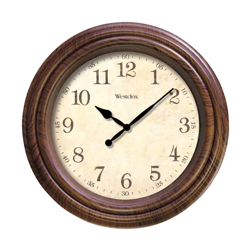Westclox  10 in. L x 10 in. W Indoor  Classic  Analog  Wall Clock  Plastic  Brown
