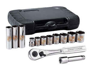 Craftsman  Assorted in.  x 3/8 in. drive  SAE  6 Point Socket Wrench Set  13 pc.