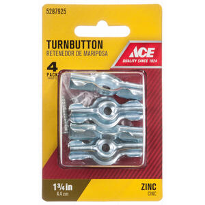 Ace  Zinc-Plated  Silver  Steel  Screen/Storm Turn Buttons  4 pk