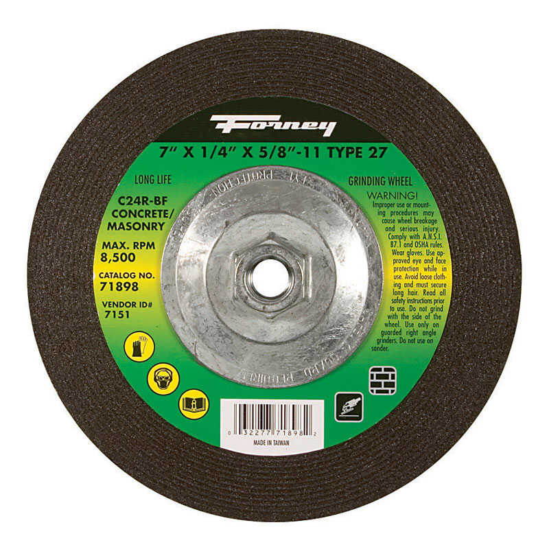 Forney  7 in. Dia. x 1/4 in. thick  x 5/8 in.   Silicon Carbide  Masonry Grinding Wheel  8500 rpm 1