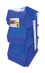 Quantum Storage  7 in. L x 8-1/4 in. W x 13-3/4 in. H Stack and Hang Bin  Polypropylene  3 pk Blue