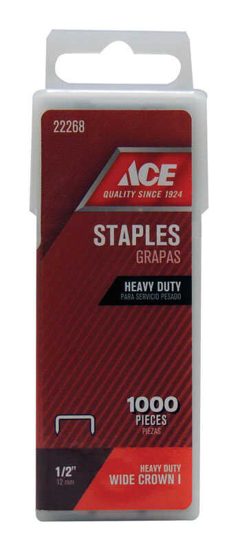 Ace  1/2 in. L Steel  Wide Crown  Heavy Duty Staples  1000