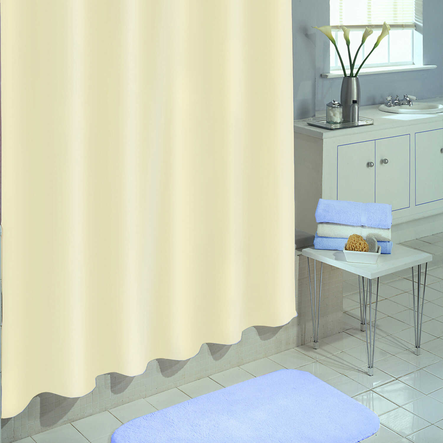 H Ivory Solid Shower Curtain Liner