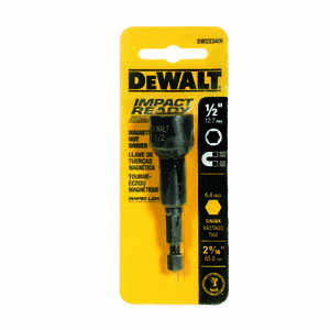 DeWalt  Impact Ready  1/2 in.  x 2-9/16 in. L Black Oxide  Nut Driver  1/4 in. 1 pc. Quick-Change He
