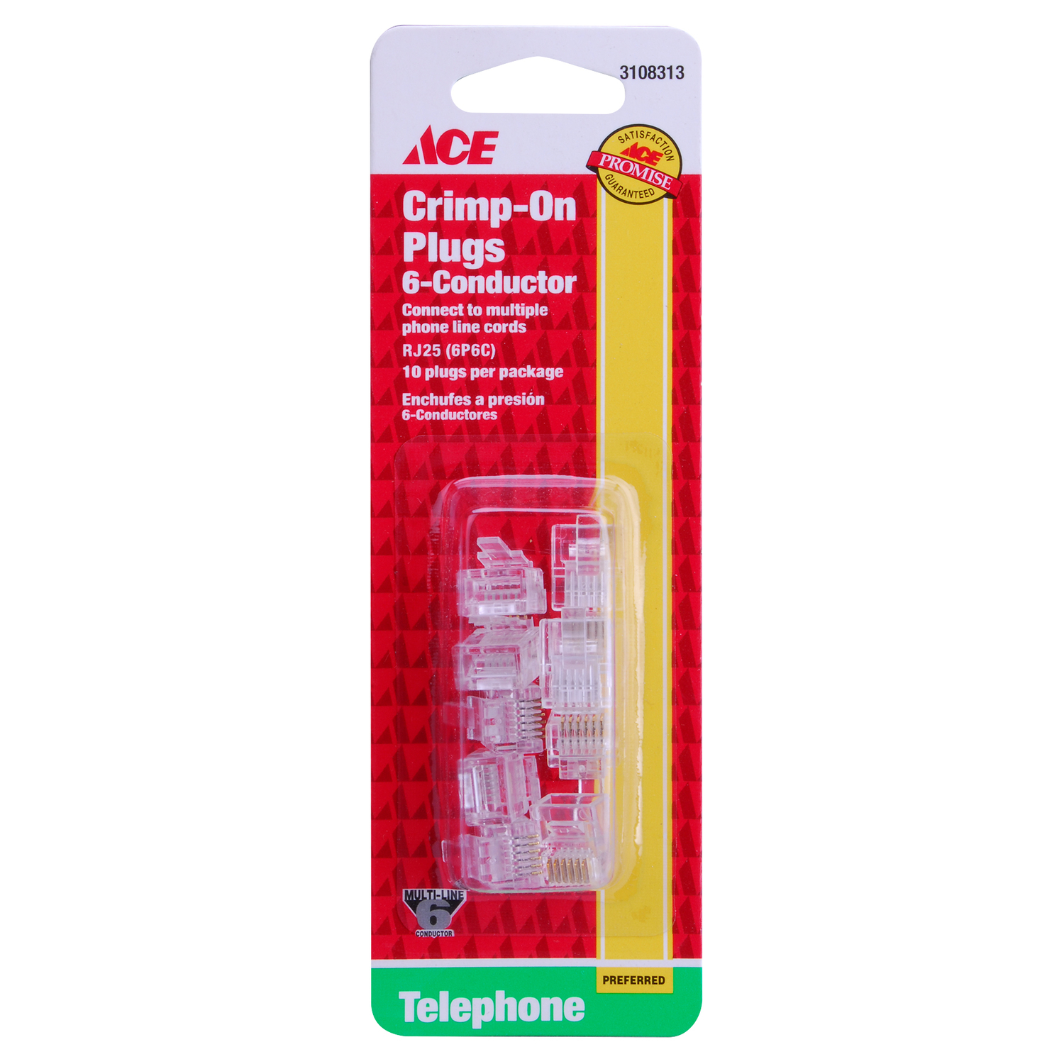 Ace  6  Clear  Modular Telephone Line Cable  0 ft. L For Universal