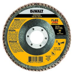 DeWalt  Flexvolt  4-1/2 in. Dia. x 7/8 in.   Ceramic  Flap Disc  80 Grit 1 pk
