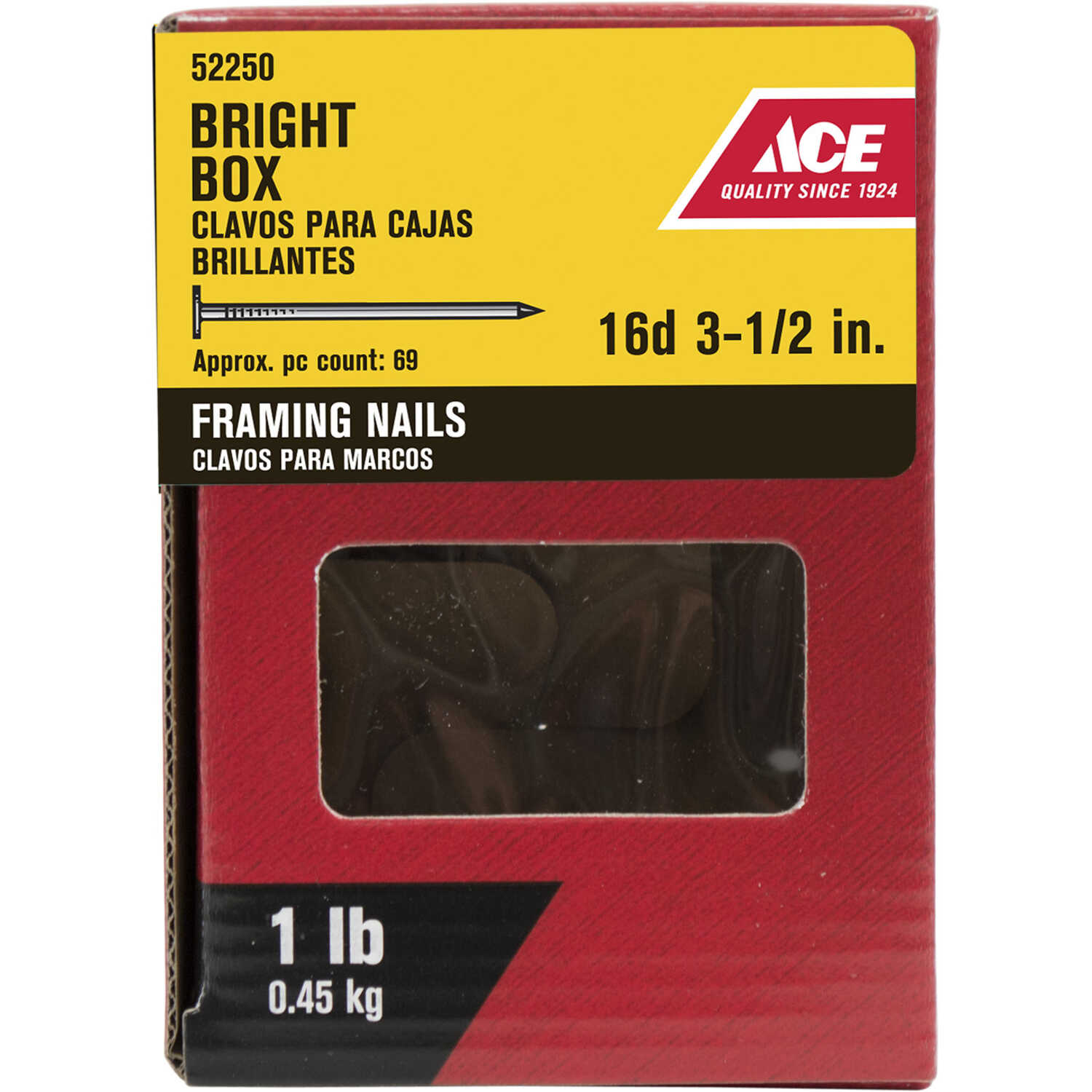 Ace  16D  3-1/2 in. L Framing  Bright  Steel  Nail  Smooth  Flat  1 lb.