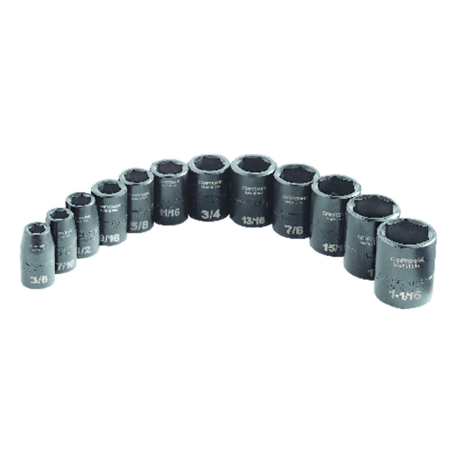 Craftsman  1-1/16 in.  x 1/2 in. drive  SAE  6 Point Standard  Impact Socket Set  12 pc.