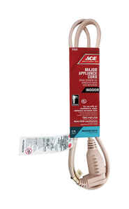 Ace  14/3 SPT-3  125 volt 3 ft. L Appliance Cord