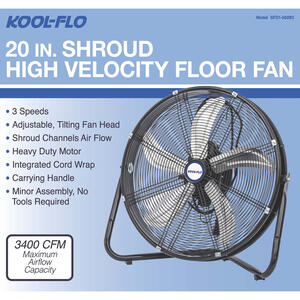 KOOL-FLO  23.22 in. H x 20 in. Dia. 3 speed Electric  High Velocity Fan
