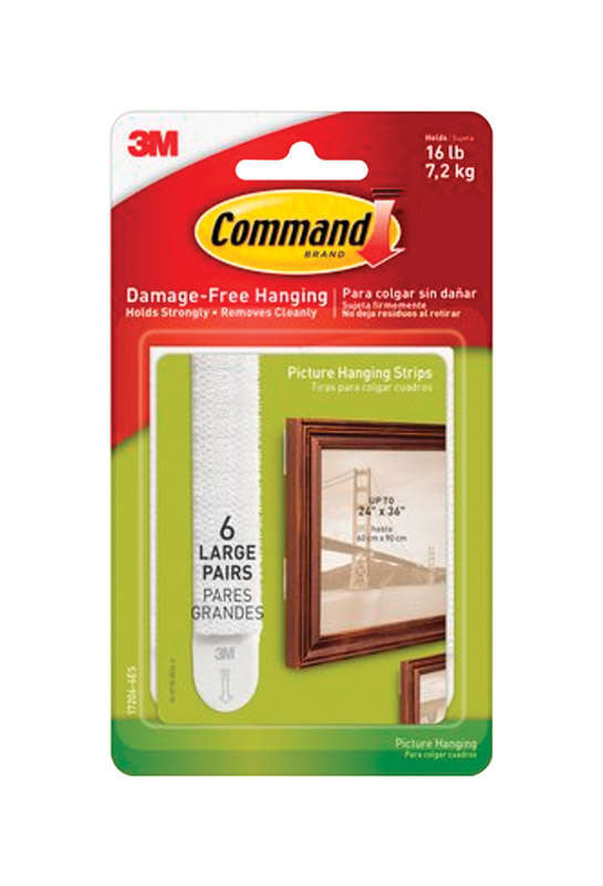Command  White  Foam  Picture Hanging Strips  6 pair