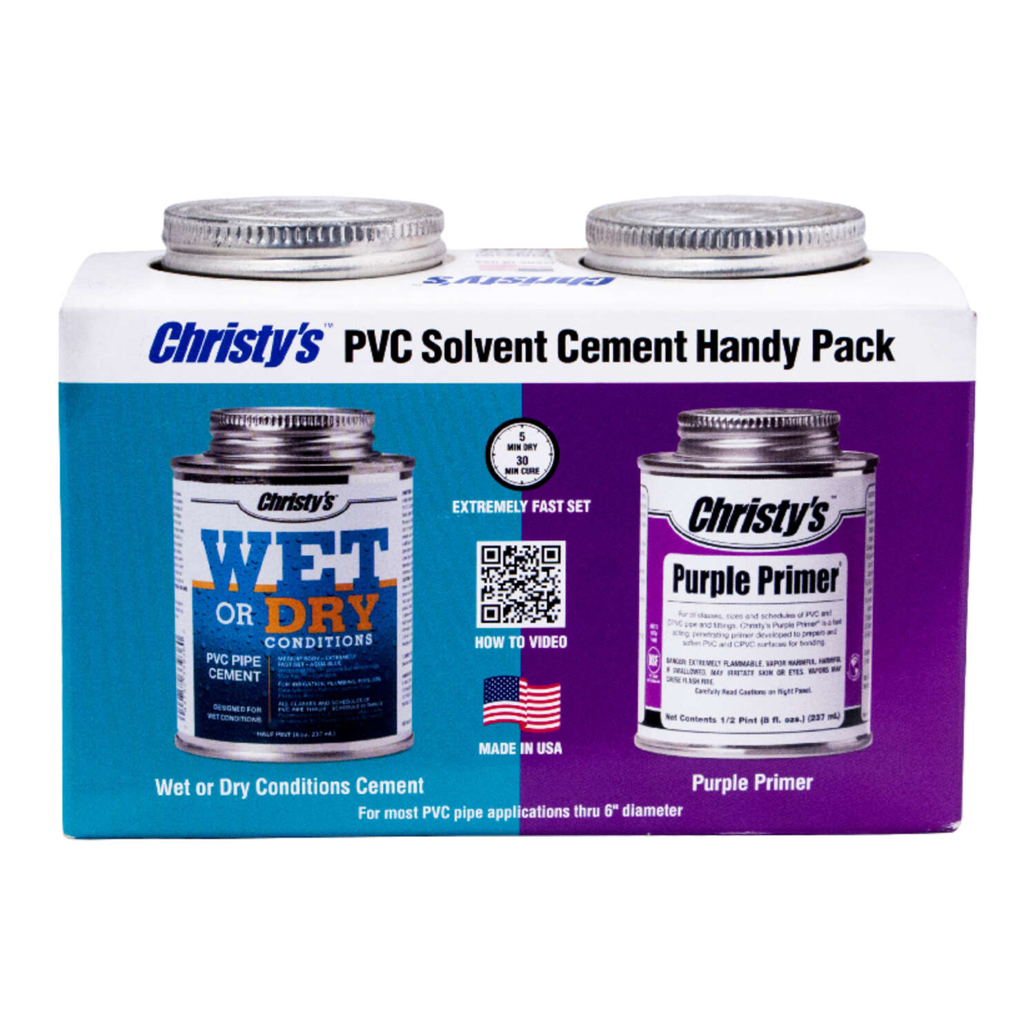 Christys  Blue/Purple  Primer and Cement  For PVC 8 oz.