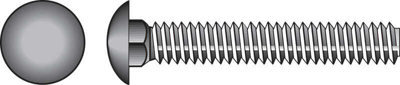 Hillman  1/4 in. Dia. x 2-1/2 in. L Zinc-Plated  Steel  Carriage Bolt  100 pk