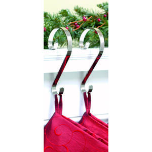 Haute Decor  Scrolls  Scroll  Stocking Holder  Silver  Metal  2 pk