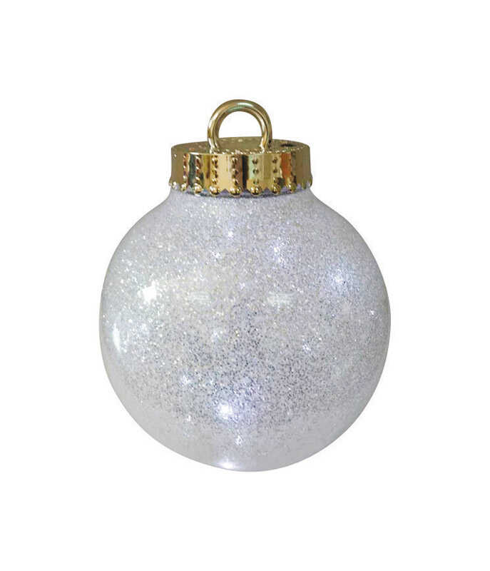 Celebrations  LED Glitter Ornament  Christmas Decoration  White  1 pk Plastic