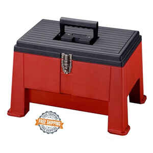 Stack-On  14 in. Steel  Step n' Store Stool  20 in. W x 12.5 in. H Red