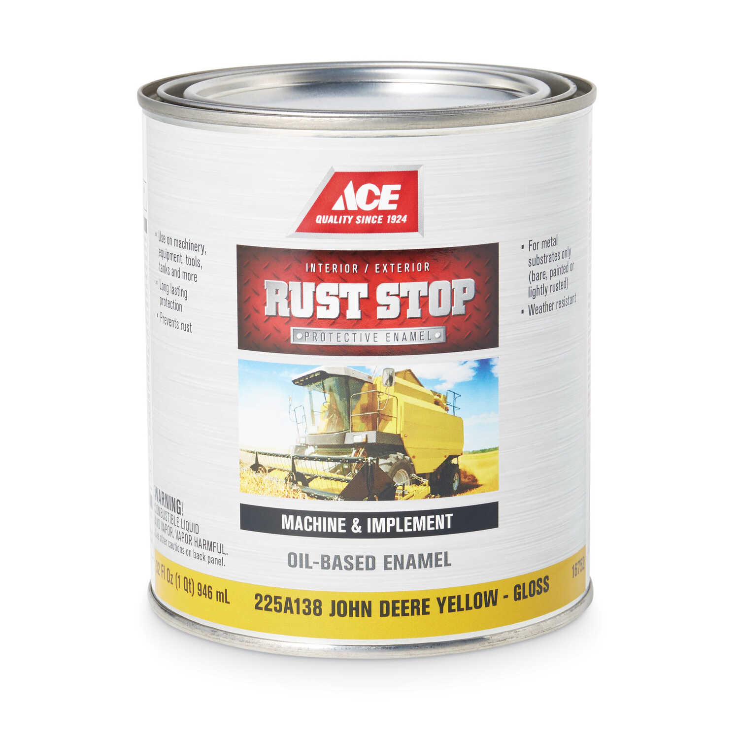 Ace  Rust Stop  Indoor and Outdoor  Gloss  John Deere Yellow  Rust Prevention Paint  1 qt.