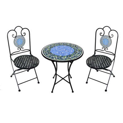 Infinity  3 pc. Black  Iron  Mosaic  Bistro Set