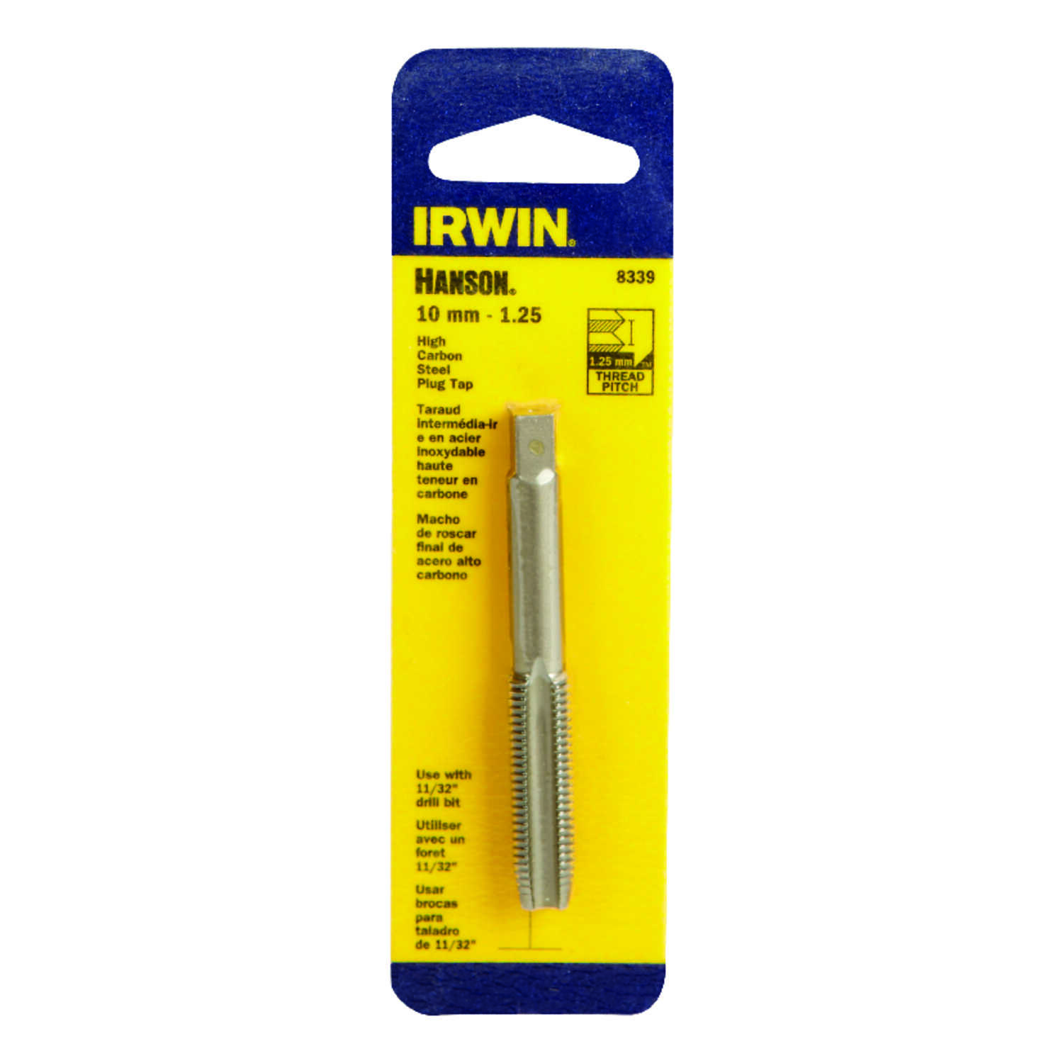 Irwin  Hanson  High Carbon Steel  Metric  Plug Tap  10mm-1.25  1 pc.