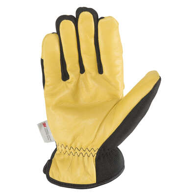 Wells Lamont  Men's  Cowhide Leather  Saddletan Grain  Winter Work Gloves  Black/Yellow  L  1 pair