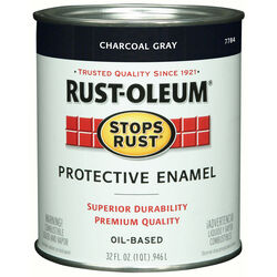 Rust-Oleum  Stops Rust  Indoor and Outdoor  Gloss  Charcoal Gray  Oil-Based  Protective Paint  1 qt.