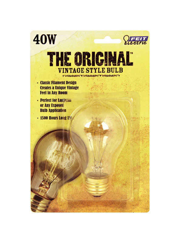 FEIT Electric  The Original  40 watts A19  Incandescent Bulb  170 lumens Soft White  Vintage  1 pk