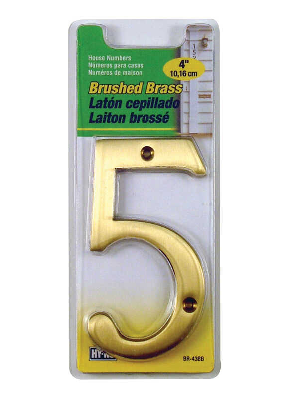Hy-Ko  4 in. Brass  Gold  5  Number  Nail-On