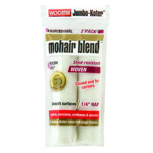 Wooster  Mohair Blend  Mohair Blend  1/4 in.  x 4-1/2 in. W Paint Roller Cover  2 pk For Smooth Surf