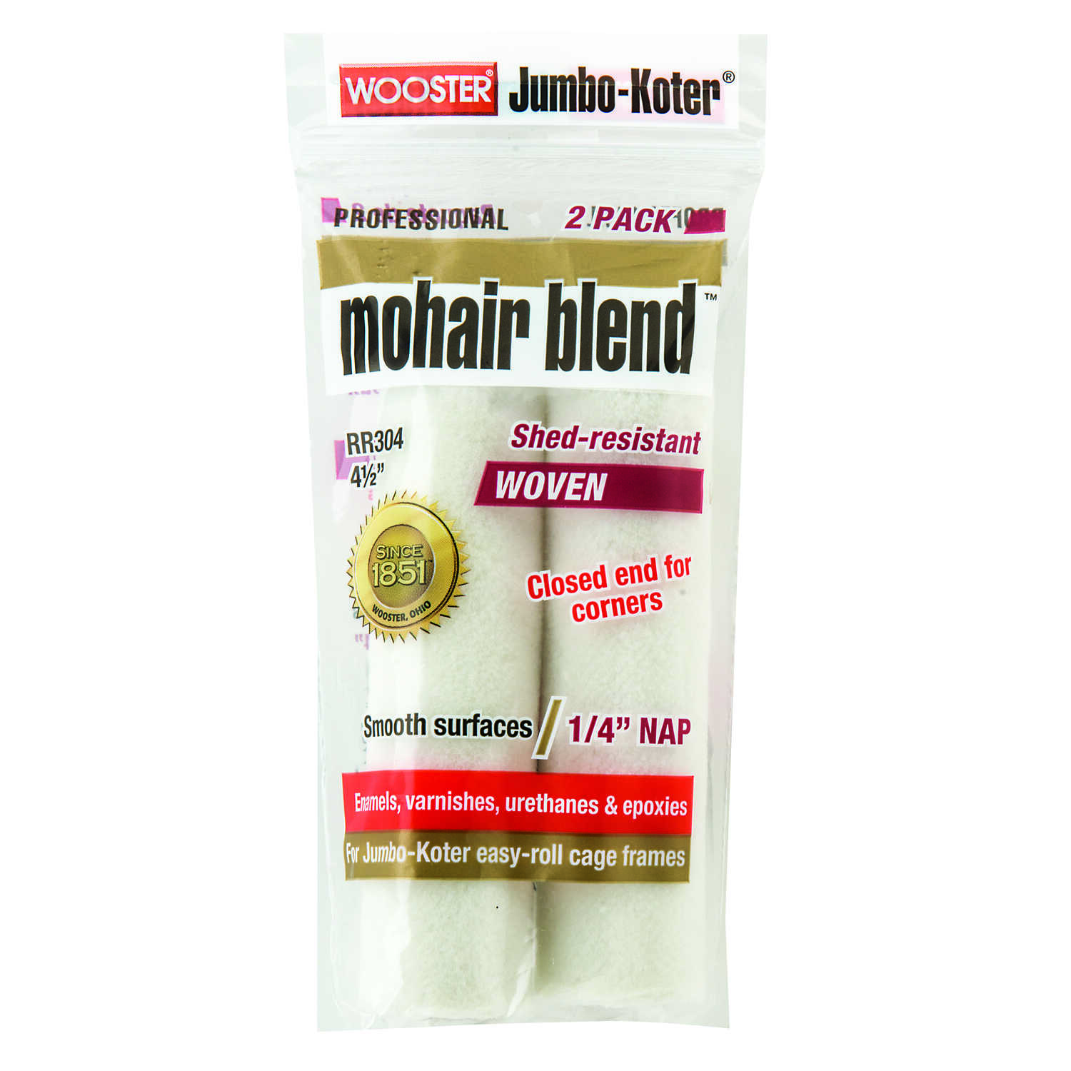 Wooster  Mohair Blend  Mohair Blend  1/4 in.  x 4-1/2 in. W For Smooth Surfaces 2 pk Paint Roller Co