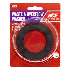 Ace  1-7/8 in. Dia. Rubber  Waste and Overflow Washer  1 pk